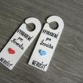 sada - svadobné závesy na kľučku - modro-červené s bodkami
