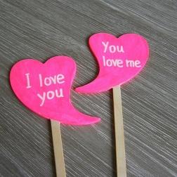 ceduľka I love you - neónová cyklámenová