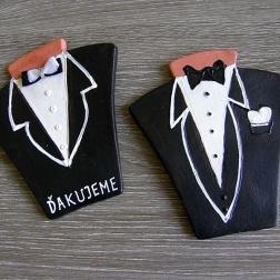 svadobný darček, menovka - oblek