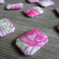 ozdoba plastová korálka - obdĺžnik ružová