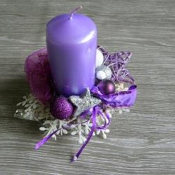 vianočný svietnik - fialový
